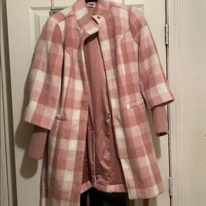Plaid Funnel neck coat